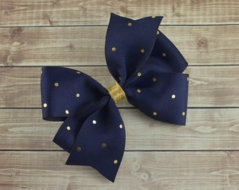 Navy and Gold Hair Bow, Navy and Gold Bow, Navy Hair Bow, Fancy Hair Bow, School Hair Bow, Boutique Hair Bow, Navy Blue Headband, Blue Bow