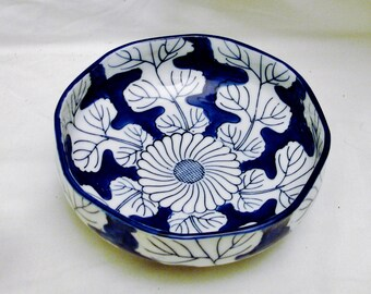 Blue and White Porcelain Bowl-Spectacular Leaf Design-7.25 (18.42cm) Inch Diameter