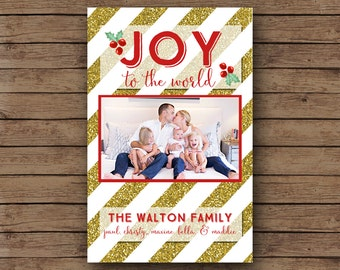 Christmas Cards - Holiday Photo Card - Custom - Printable File - Glitter Gold Red