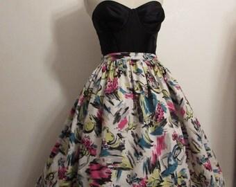 Original vintage 50's  novelty print skirt 50's novelty barkcloth skirt , calypso print , size M