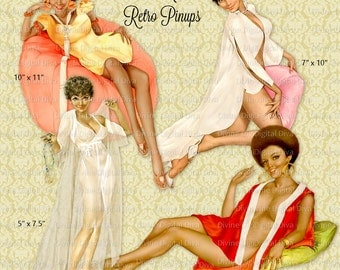 African American Vintage Pinup Girls Retro | Clipart Digital Images Instant Download