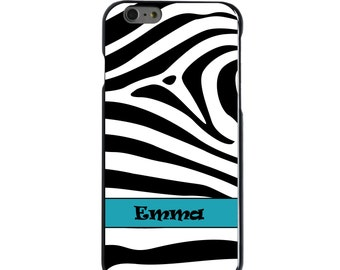 Hard Snap-On Case for Apple 5 5S SE 6 6S 7 Plus - CUSTOM Monogram - Any Colors - Black White Zebra Stripe Blue