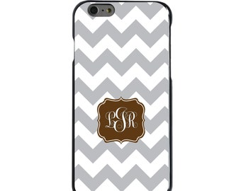 Hard Snap-On Case for Apple 5 5S SE 6 6S 7 Plus - CUSTOM Monogram - Any Colors - Grey White Chevron Brown Frame