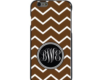 Hard Snap-On Case for Apple 5 5S SE 6 6S 7 Plus - CUSTOM Monogram - Any Colors - Brown White Chevron Initials