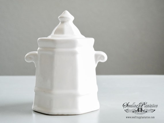 Vintage White Ironstone Sugar Bowl, Biscuit Jar- French Country Shabby Chic Fine China