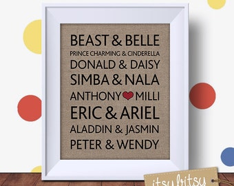 Famous Disney Couples Print, Engagement Gift, Wedding Print, Unique Wedding Gift, Famous Couples print, Personalized Love print