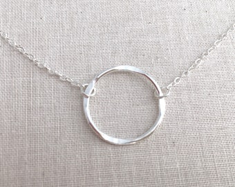 Bridesmaid Gift, Circle Necklace Silver, Infinity Necklace, Eternity Necklace, Sterling Silver Necklace