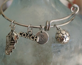 Soccer coach gift!!  Cute soccer charm, coach, cleat, and hand stamped initial charm.  Soccer bracelet.