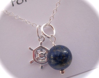 Sterling Silver Ship Wheel Charm and Lapis Lazuli Gemstone Necklace