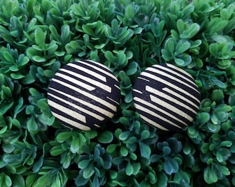 Golden Stripes- Handmade Fabric Button Earrings