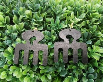Africa Comb- Handmade Wooden Earrings