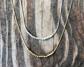 """Morse code beaded """"sister"""" necklace with twisted beads"""