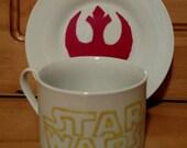 Hand Painted Star Wars Rebel Coffee Cup set