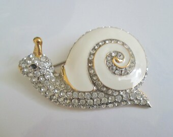 Signed Enamel And Clear Stone Snail Brooch