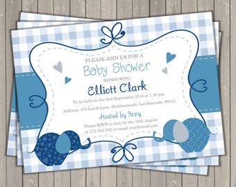 Baby shower invitation, digital, printable file, elephant baby shower invitation, gingham digital invite, personalized, custom invite
