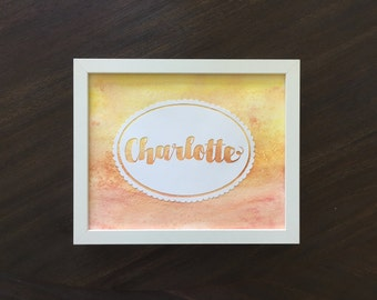 Watercolor Name Art - Scallop Sunset  - 8x10 Framed