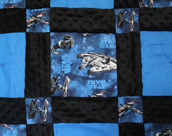 Custom Made to Order ~ Neutral~ Boy or Girl ~ Baby/Toddler Quilt and Pillow Made with Star Wars Fabric and Soft Minky Dot Fabric