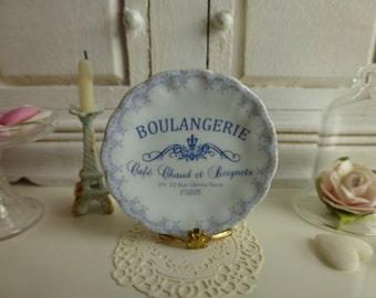 Vintage Blue French  Dollhouse Miniature Plate