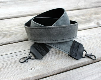 Camera Strap, Grey Camera Strap, Waxed Canvas Camera Strap, DSLR Camera Strap