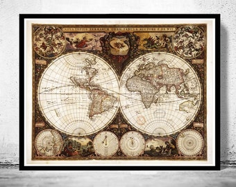 Old World Map Antique 1660