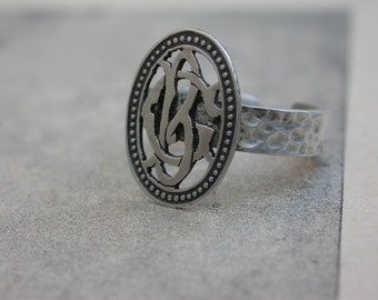 antique sterling silver ring 19th century sterling silver monogram B C hummered solid silver ring adjustable one of a kind medal filigree