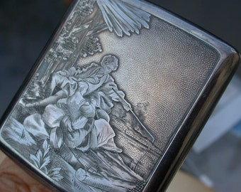 French antique 19th century silver cigarette case cigarette box art nouveau woman fisher romantic flower ornate box cart box bronze box