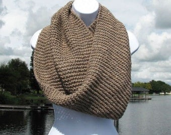 Merino/Alpaca Infinity Mobius Scarf, Shawl Cowl Wrap, Taupe/Camel Heather, Luxuriously Soft, Super Warm, Light Weight, MADE TO ORDER