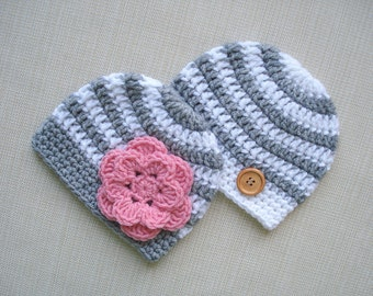 Twin boy and girl hats, Newborn twin hats, Baby twin photo props, Newborn boy girl twins hat, Crochet newborn hat, Twins baby gift, Outfit