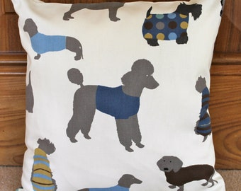 "Dog pillow cover, Poodle cushion, dog cushion, poodle, terrier, daschund, labrador, 16"""