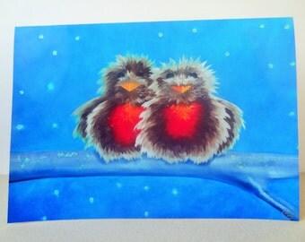 Christmas Card Glitter Print - Robins