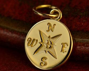 Solid 14K Gold Compass Charm-Compass-Love-Faith-Seas-Ocean-graduation