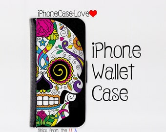 Sugar skull iPhone 6 Case - sugar skull iPhone 6 Wallet Case - sugar skull iphone 6 - sugar skull iPhone 6 Wallet