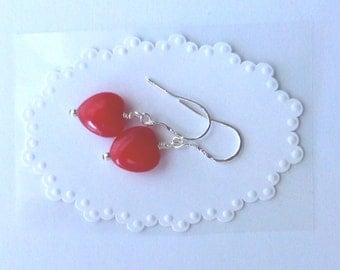 Ruby Heart Earrings With Sterling Silver
