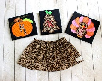 3 holiday outfit sets Girls Thanksgiving Christmas Halloween outfit Toddler Girl Matching leopard Christmas Tree Pumpkin Turkey skirt set