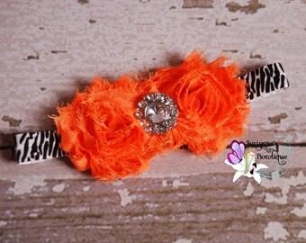 Orange Shabby Flower Rhinestone Zebra Headband, Baby Headband, Animal Print - SB-008F