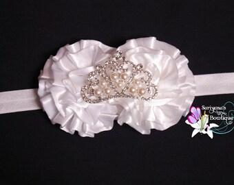 White Cream Satin Ruffle Flower Pearl Tiara Crown Rhinestone Headband, Christmas, Baptism, Wedding - Baby Toddler Girl Woman - SB-030