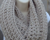HOLIDAY SALE! Oversized linen infinity scarf,crochet scarf in light grey ,oversized chunky circle scarf in linen color, Ready to ship