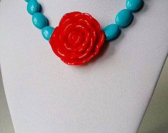 Floral Pendant Necklace ,Red  Rose Flower Pendant , Turquoise Necklace ,Frida Kahlo Necklace