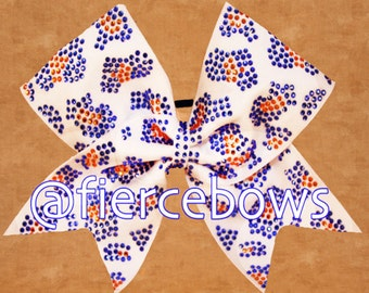 Two Color Rhinestone Cheetah Bow