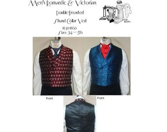 LMBJ05 - 1830-1860 Men's Victorian Double-Vested Shawl Collar Vest Pattern by Laughing Moon