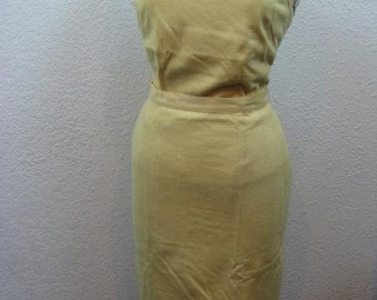 Vintage 1950s/1960s Beaded Yellow Wool Frederick & Nelson 2-Piece Skirt and Sleeveless Top Set