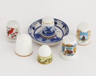 SALE - 6 x Vintage Thimbles / Lot of 6 Porcelain Thimbles with Miniature Plate