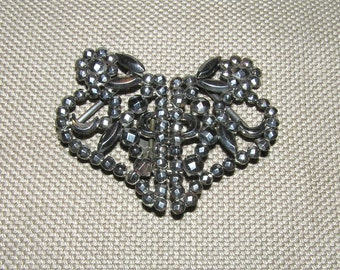 SALE!  25% Off!  Antique Victorian Heart-Shaped Belt Buckle Made w/ Riveted Cut Steels