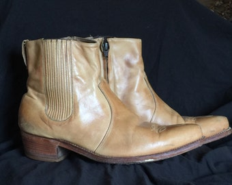 Vintage distressed leather Western Cowboy zip ankle Boots sz 10 E