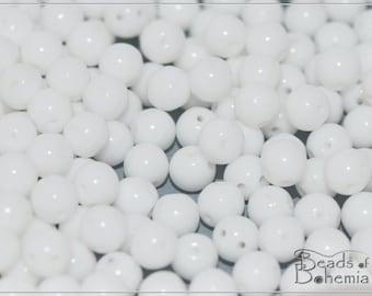 50 pcs Chalk White Czech 2 Hole RoundDuo Beads 5 mm (10210)