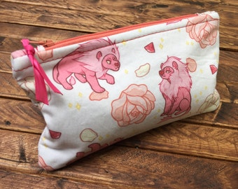 CLEARANCE Patterned Zipper Pouches - Lion