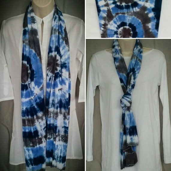 Hand Dyed Tie Dye Scarf in Navy Blue, Brushed Steel & Periwinkle/Womens Tie Dye/Eco-Friendly Dying