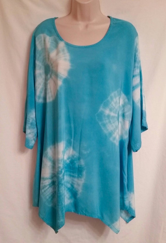 Hand Dyed Women's Tunic/Asymmetric Light Aqua Marine Tunic/ Tie Dyed/ Long Sleeve/Women's