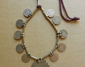 Vintage Adjustable Tribal Silver Kuchi Banjara Gypsy Belly Dance Necklace With Old Coins, Silver Tube Beads And A Central Stamped Pendant