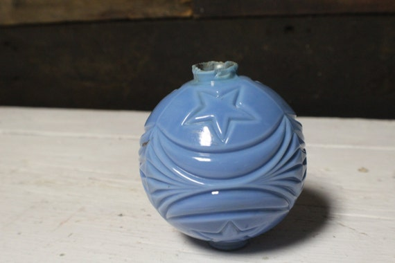 Antique Lightning Rod Ball Blue Milk Glass With Stars And